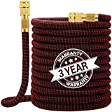 """WORTH GARDEN Flexible and Expandable Garden Hose - Durable Water Hose with Double Layers Latex Core ,3/4"""" Solid Brass Fitting"""