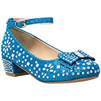 SOBEYO Girl's Dress Shoes Glitter Rhinestone Bow Accent Mary Jane Kids Pumps