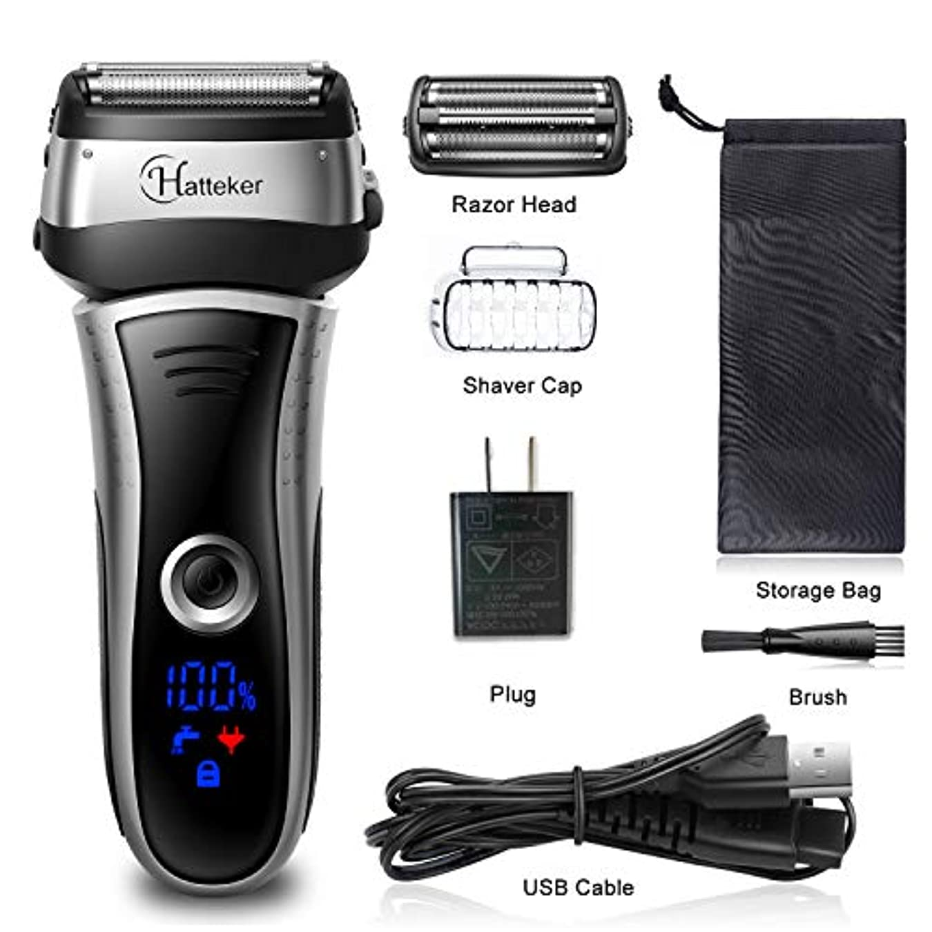 インセンティブ引き出すホップHATTEKER メンズシェーバー ひげそり 電動髭剃り 往復式シェーバー 3枚刃 USB充電式 LEDディスプレイ お風呂剃り & 丸洗可 替刃付きブラック