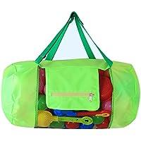 MXIKU メッシュビーチバッグトート、おもちゃオーガナイザー、超大型サンドアウェイビーチシェルストレージ折りたたみ式バッグ、バックパック&ハンドバッグ2デザイン(おもちゃは含まれません) (Color : Green-Handbag)