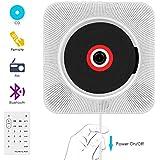 CDプレーヤー Wrcibo 置き&壁掛け式 1台多役 Bluetooth USB対応 ステレオ音楽システム リモコン付き 小型 軽量 音楽再生/語学学習/胎児教育 日本語説明書付き (ホワイト)