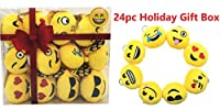"Qshop 24パック絵文字イエローMini Plush枕、キーチェーン装飾、Holidayギフトボックス子供パーティー用品の贈り物、3""のセット24 3In/7Cm Emoji Head Key chain イエロー 850535/850511/850513/850512"