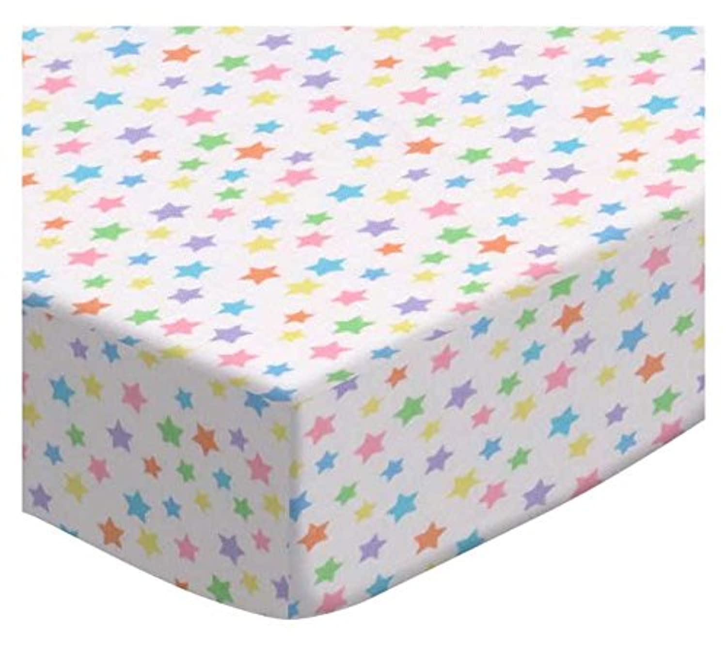 SheetWorld Fitted Pack N Play (Graco) Sheet - Pastel Colorful Stars Woven - Made In USA by sheetworld