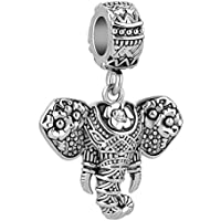 Mel Crouch Dangle Elephant Charms Animal Charm Beads for Snake Chain Bracelets