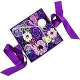ソープフラワー 父の日 フラワーソープ 石鹸の花 枯れないお花 バレンタインデー 誕生日 お祝いや休日 紫の