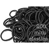 200 Mini Hair Elastics, Small Hair Ties (Black)
