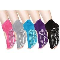 ZITA ELEMENT 2/5 Pairs Women's Yoga Socks Toeless Half Toe Grip Non-Slip for Ballet, Yoga, Pilates, Barre Toe Socks