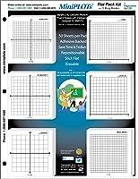 """MiniPlotグラフ用紙キット: 6つXY軸座標グリッドデザインに3x 3"""" Post - itノートカードストックパッド8.5X 11にマウントされます。50粘着パッドあたりBackedシート。使用の宿題& More"""