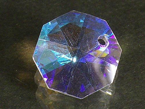 レインボー 八角 クリスタル ガラス ビーズ 14mm 20mm サンキャッチャー 材料 パーツ シャンデリア インテリア (1つ穴14mm70個セット)
