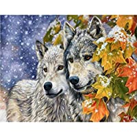 フルスクエア3d diyダイヤモンド絵画無料クロスステッチキットモザイク刺繍クロスステッチ牽引狼画像家の装飾ギフト40×50センチ