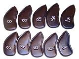 ゴルフ アイアン ヘッド カバー 保護 カバー 合成 皮革 刺繍 番手 入りPUレザー 10個 セット (ブラック)