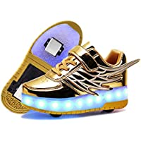 Ufatansy Rechargeable Boys LED Shoes Roller Shoes Girls Roller Skate Shoes Kids LED Light up Wheel Shoes Roller Sneakers Shoes Charging by USB Double Wheels for Kids