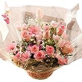 【日時指定便(20日後迄)】バラ ピンク アレンジ お誕生日・記念日に Pink roses wih basket for birthday or anniversary gift (日時指定便)