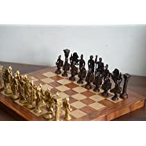 Cultural Hub R J92-2700-0004 Collectible Greek and Roman Brass Handcrafted Chess Pieces with Foldable Wooden Chess Board for Chess Fans and Upcoming Grandmasters by Cultural Hub [並行輸入品]