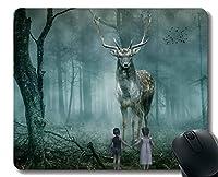 ゲーミングマウスパッドのデザイン、鹿の森の子供たちの霧の鳥 - ステッチエッジ