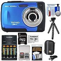 Bell & Howellスプラッシュwp10衝撃&防水デジタルカメラ(ブルー) with 16GBカード+電池&充電器+ケース+ Flex三脚+キット