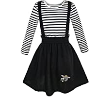 2 Pieces Set Girls Dress T-shirt Suspender Skirt School Uniform Size 4-12 Years