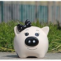 HuaQingPiJu-JP クリエイティブ新年プレゼント紳士豚ピギーバンクホワイトグレーズホームデコレーション(ホワイト)