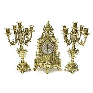【イタリア製】 ブラス(真鍮)時計&燭台セット 時計/幅24X奥行12XH41cm 燭台/幅20X奥行20XH41 C3-1234