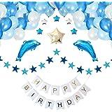 [スリール] 誕生日 飾り付け イルカ バルーン (Happy Birthday) 豪華 風船 装飾 セット ポンプ クリップ 付き(ブルー)