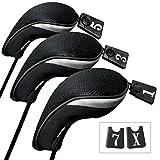 Andux ゴルフ ウッドドライバー ヘッドカバー 交換可能な番号タグ付き 3個セット (ブラック)