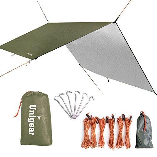 Unigear 防水タープ キャンプ タープ テント 軽量 日除け 高耐水加工 紫外線カット 遮熱 サンシェルター ポータブル 天幕 シェード アウトドア 収納ケース付 2-6人用 4サイズ B076C7GXNT 1枚目