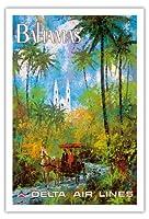 バハマ - デルタ航空 - ビンテージな航空会社のポスター によって作成された ジャック・レイコックス c.1970s - アートポスター - 76cm x 112cm