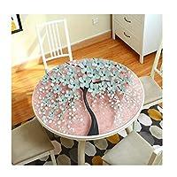 テーブルクロス 3D テーブルクロス 花 パターン 円形 PVC いいえ 洗う 防水  やけど防止 にとって ホテル レストラン 生活 ルーム (色 : D, サイズ さいず : 直径60センチメートル)