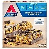 Atkins Snack Bar, Chocolate Chip Crisp, Keto Friendly, 5 Count