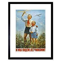 Vintage Ad Propaganda Pilot Air Force USSR Soviet Union Framed Wall Art Print