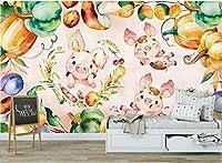 Minyose 3D壁紙カスタムオリジナルの手描き水彩漫画豚子供部屋壁壁画-140cmx100cm