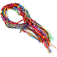 9 x Hippie Style Colorful Braided Friendship Bracelets Thread Wrist Ankle Bracelet Random Color-Knurled