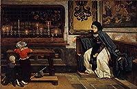 ¥5K-200k 手書き-キャンバスの油絵 - 美術大学の先生直筆 - 6 名画 - Marguerite in Church James Jacques Joseph Tissot - 絵画 洋画 手描複製画 -01