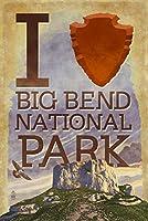 IハートBig Bend国立公園、テキサス( Casa Grande ) 12 x 18 Art Print LANT-73478-12x18