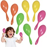 ArtCreativity 7.5 Inch Plastic Maracas for Kids, 4 Pairs, Neon Music Hand Shakers, Fun Noise Makers and Toy Musical Instrumen