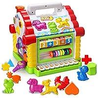 HOMOFY 赤ちゃん用おもちゃ カラフルな音楽ベビー 小さな楽しい家 ライト&音楽 マルチゲーム 動物幾何学ブロック 学習教育玩具 女の子 男の子 幼児 赤ちゃん用
