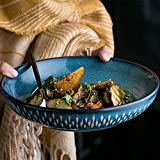 YASE-king 8-inch bowl ceramics Shallow mouth bowl Mixing bowl salad bowl large Household European Retro tableware