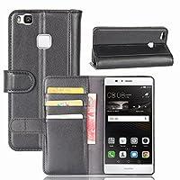 Huawei G9 Lite ケース (DISLAND) 本革 キックスタンド 財布 電話ケース スタンド機能付き Huawei G9 Lite 手帳型ケース 横開き カッドポケット 耐衝撃,ブラック