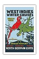 西インド諸島 - ウィンタークルーズ - パナマ運河 - 北ドイツロイド(NDL) - ビンテージな遠洋定期船のポスター c.1913 - プレミアム290gsmジークレーアートプリント - 61cm x 91cm