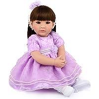 20インチ 欧米大人気 リアル 女の子 人形 着せ替えはできる ドール 安全ビニール製 子ども おもちゃ ぬいぐるみ 西洋風 レトロ調 子供への誕生日プレゼントに最適 (パープル色 プリンスドレス)
