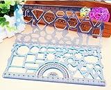 (ココ)COCO 文具 デザイン お絵かき 定規 くるくる 輪 を 鉛筆 で 描く 図形 分度器 お楽しみカラー
