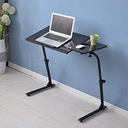 Soges 角度&高さ調節可能 机 デスク 昇降式サイドテーブル 折りたたみテーブル サイドテーブルベッド ブラック