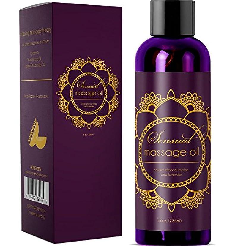 Sensual Massage Oil w/ Pure Lavender Oil - Relaxing Almond & Jojoba Oil - Women & Men - 100% Natural Hypoallergenic...