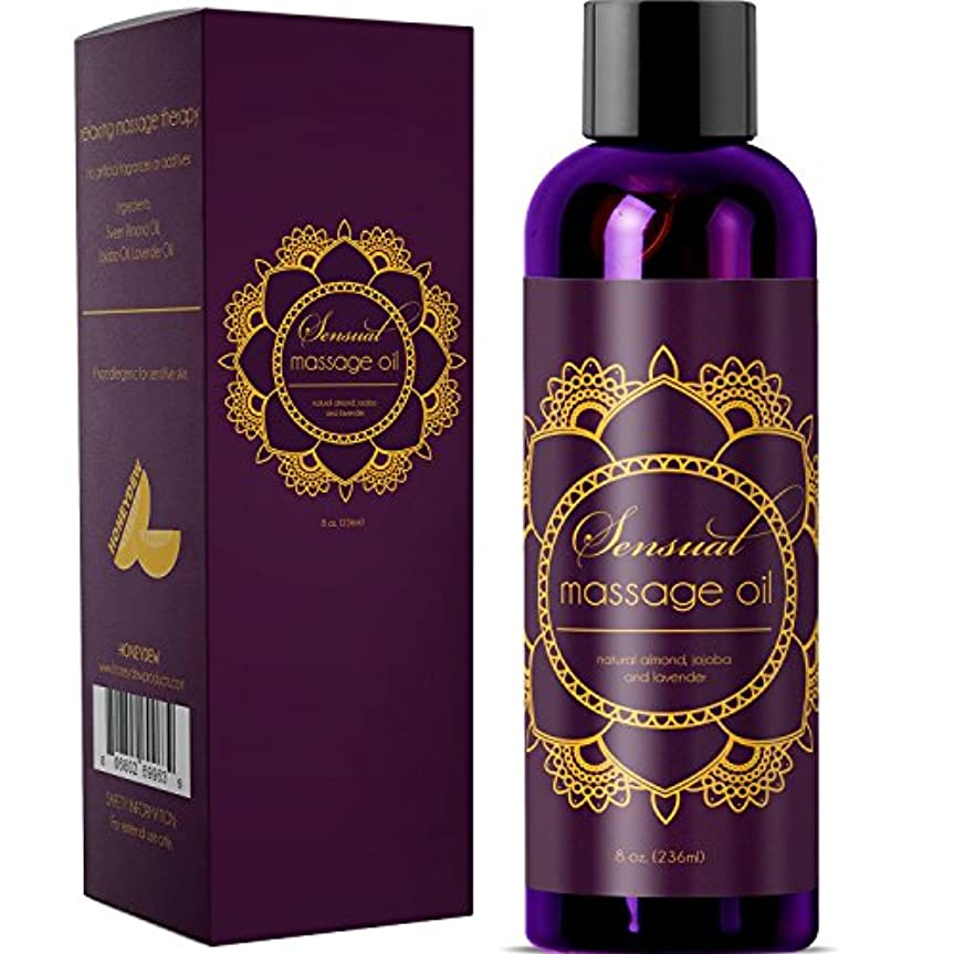 Sensual Massage Oil w/ Pure Lavender Oil - Relaxing Almond & Jojoba Oil - Women & Men - 100% Natural Hypoallergenic...