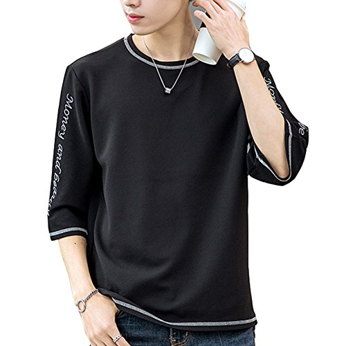 oolivupf tシャツ メンズ 半袖 五分丈 七分袖 高品質 吸汗速乾 軽い 柔らかい 無地 おしゃれ アクティブシャツ(810blackL)