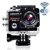 Campark® ACT74 アクションカメラ2.0インチWifi 4K 防水  170度広角度 1080PフルHD DVカムコーダー HDMI出力 タイムラプス スローモーション 2個バッテリーに付き(Black)