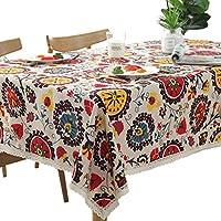 テーブルクロス 綿麻 レース 花柄 ボヘミアン風 おしゃれ 華やか キッチン ダイニング 装飾 140x160cm