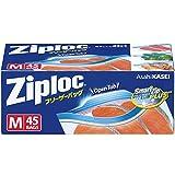 ジップロック フリーザーバッグ ジッパー付き保存袋 冷凍・解凍用 Mサイズ 45枚入 (縦18.9cm×横17.7cm)