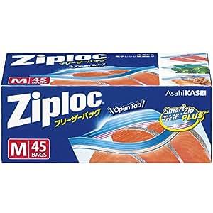 ジップロック フリーザーバッグ Mサイズ 45枚入 ジッパー付き保存袋 冷凍・解凍用  (縦18.9cm×横17.7cm)