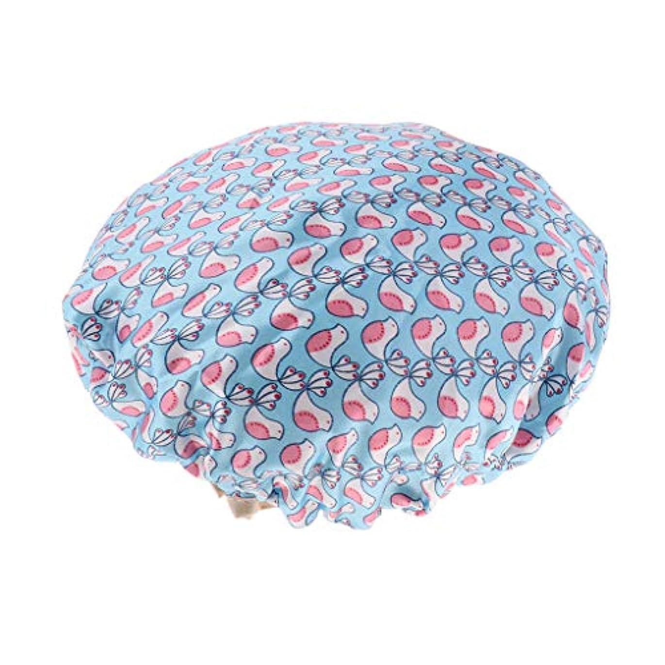 D DOLITY シャワーキャップ ヘアキャップ 帽子 女性用 入浴 バス用品 二重層 防水 全3色 - 青